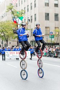 Acrobats cyclists with Gym Dandies from the Scarborough Schools, Maine - part of the red carper performes of the parade. (10)
