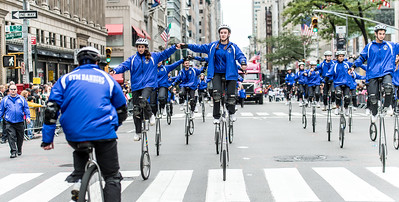 Acrobats cyclists with Gym Dandies from the Scarborough Schools, Maine - part of the red carper performes of the parade. (5)
