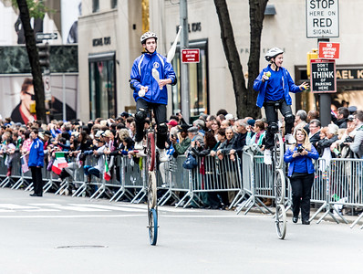 Acrobats cyclist with the Gym Dandies from the Scarborough Schools, Maine - part of the red carper performes of the parade. (2)