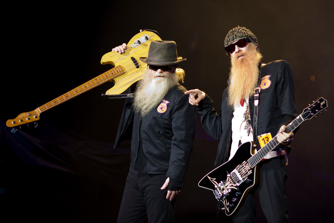 Dusty Hill (bassist - left) Billy Gibbons (lead guitar & vocals - right) of ZZ Top in their opening performance at the Tom Petty & the Heartbreakers show at St. Pete Times Forum, September 16, 2010
