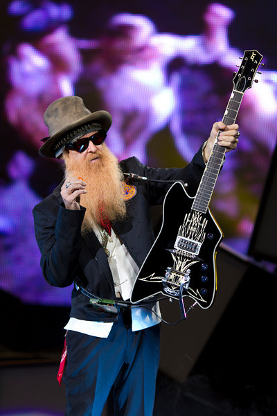 Billy Gibbons of ZZ Top (with 'blues hat') in his opening performance at the Tom Petty & the Heartbreakers show at St. Pete Times Forum, September 16, 2010