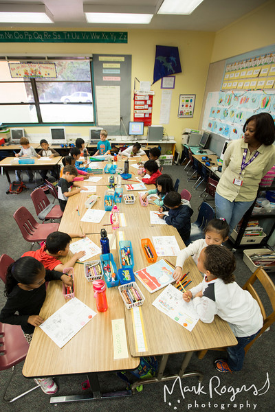 Students, Teachers and Experience Corps Volunteers photographed during class at Cleveland Elementary School in Oakland, California