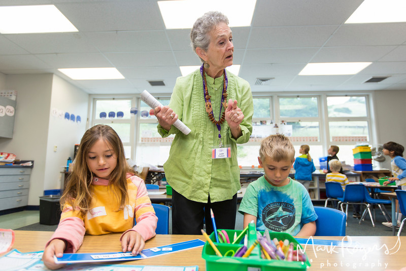 Students, Teachers and Experience Corps Volunteers photographed during class at Sun Valley School in San Rafael, California
