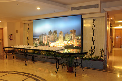 "81"" x 125""  (about 6.5 feet by 10.5 feet) flex with back lighting image of done by Suchit Nanda for Rodas put up at Pavillion, Rodas Hotel, Hiranandani Gardens, Powai, Mumbai (Bombay), India.  http://www.rodashotel.com/"