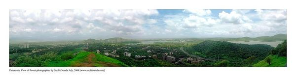 Panoramic view of Powai, Mumbai, India.  This image is for a print size of 2 feet by about 9 feet.