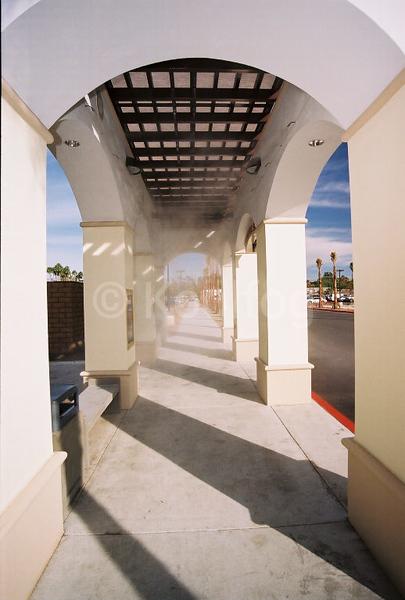 Inside bu stop with misting