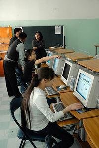 Computer lab in School in Ulan Baator, UB, Mongolia.