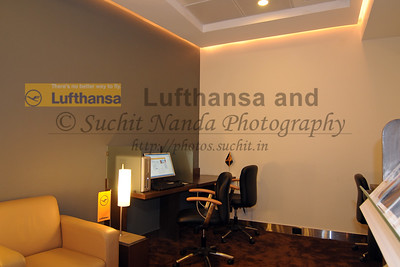 Lufthansa Lounge at the Chhatrapati Shivaji International Airport Terminal, Mumbai. India. This lounge also serves the Star Alliance Partner airlines. 25th March, 2009