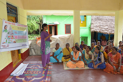 Jashoda from Gram Vikas conducting a community educational programme at Jaleripentho village. Villagers are taught about nutrition, hygiene and diet.   Gram Vikas' founders came to Orissa in the early 1970s as student volunteers to serve victims of a devastating cyclone. Their extensive activism and relief work motivated them to form Gram Vikas, which was registered on January 22, 1979, and currently serves more than 3,89,333 people in 1196 habitations of 25 districts in Odisha.