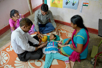 Professional therapist give massage and physical exercise. Children and their parents are trained in everyday activities, mobility, reading & writing by Nav Bharat Jagriti Kendra (NBJK) for deafblind children who have both hearing and visual disability.  Nav Bharat Jagriti Kendra (NBJK) was established in 1971 by four engineering graduates who  were sensitive to the causes of disparity, exploitation and poverty with an aim to  establish a just society. Today they are the leading non-profit organization in Jharkhand  running educational institution and health facilities.