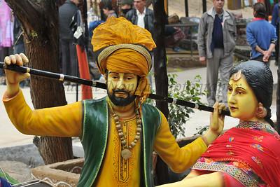 Shopping overload at Suraj Kund Mela 2008, Haryana, North India. The Suraj Kund Mela is an annual fair held near Delhi. Folk dances, handicrafts and a lot of fun.