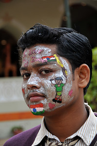 Child who won the face painting competition at Suraj Kund Mela 2008, Haryana, North India. The Suraj Kund Mela is an annual fair held near Delhi. Folk dances, handicrafts and a lot of fun.
