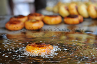 Aloo Tikki (Potato pattie) being fried. Lots of delicious food at Suraj Kund Mela 2008, Haryana, North India. The Suraj Kund Mela is an annual fair held near Delhi. Folk dances, handicrafts and a lot of fun.