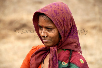 India: Portrait of a lady in a village near Nagpur, Maharashtra, India Jan 2007.
