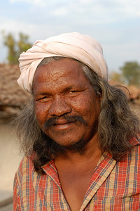 India: Portrait of a man in a village near Nagpur, Maharasthra. Jan 2007.