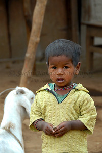 India: Boy and a goat in a village near Nagpur, Maharashtra. Jan 2007.