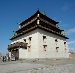 Facade of Janraisig Datsan, Gandan Khiid - Gandantegchinlen Khiid Monastery. Ulan Bator (Ulaanbaatar), Mongolia: