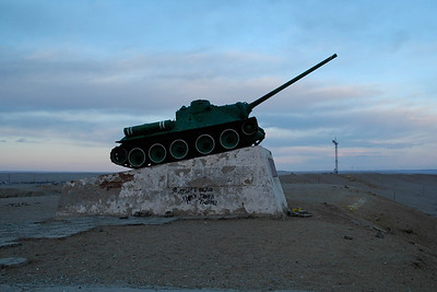 Russian tank captured and put on display. Gobi Desert, Mongolia.