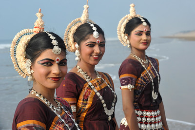 Dancers from Guru Gangadhar Pradhan's  Konark Natya Mandap at the Konark beach in Orissa.   Shot during the Konark Dance & Music Festival held from February, 19th to 23rd, 2010 was organized by Konark Natya Mandap.