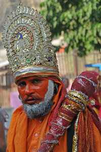 Kumbh Mela is the biggest religious gatherings on the planet which takes places on the banks of the river Ganga. The number of pilgrims this year is expected to exceed around five million since the first day Jan 14 till the time it concludes on April 28, 2010. The auspicious days of the shahi snan or royal baths usually draw hundreds of thousands of devotees to the Har Ki Paudi and other banks of the river. Uttarakhand. North India. The occasion draws pilgrims from around the world and severly overloads the infrastructure so most of the city is shut down for any vehicles other than security or emergency services so a sea of humanity walks through the city to get to the bathing ghats.