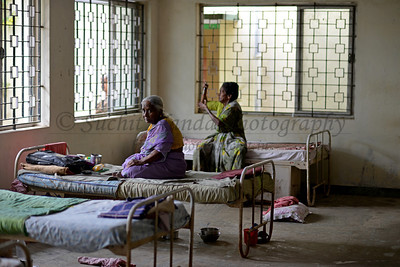 Inside the hall & sleeping area of the medical centre and old people home at the village.  Rising Star Outreach of India, Kancheepuram District, Tamil Nadu, India