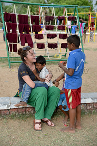 Evening playtime and interaction with volunteers. Rising Star Outreach of India, Kancheepuram District, Tamil Nadu, India
