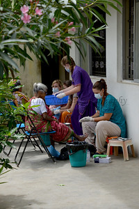 Patients being treated. Rising Star Outreach of India, Kancheepuram District, Tamil Nadu, India