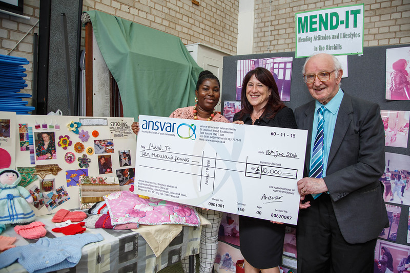 Mend-It Community Project - L to R - Kayon Blake (Fund Raising Manager), Pauline Cooper (Ansvar Insurance), Rev. Fred Stainthorpe