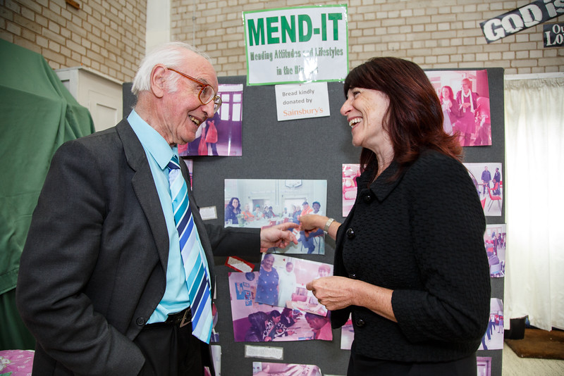 Mend-It Community Project - L to R - Rev. Fred Stainthorpe, Pauline Cooper (Ansvar Insurance)