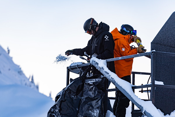 Eric Nord and Brandon Helmstetter preparing for morning avalanche control work during some of the coldest temperatures seen of the season.