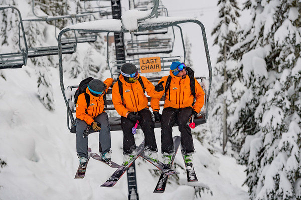 Megan McCarthy, Chris Loeser and Andy Sahlfeld scoping lines and potential hazards while closing the ski area down for the day.