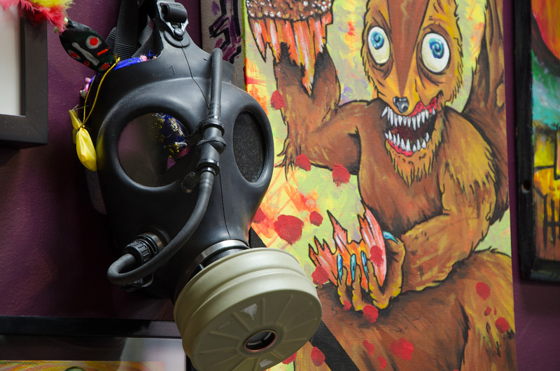 Gas mask & painting at Old Town Tatu. Chicago, IL