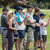 "Fans enjoying the action on the 18th green on the 3rd day of competition  in the Asia-Pacific Amateur Championship tournament 2017 held at Royal Wellington Golf Club, in Heretaunga, Upper Hutt, New Zealand from 26 - 29 October 2017. Copyright John Mathews 2017.    <a href=""http://www.megasportmedia.co.nz"">http://www.megasportmedia.co.nz</a>"