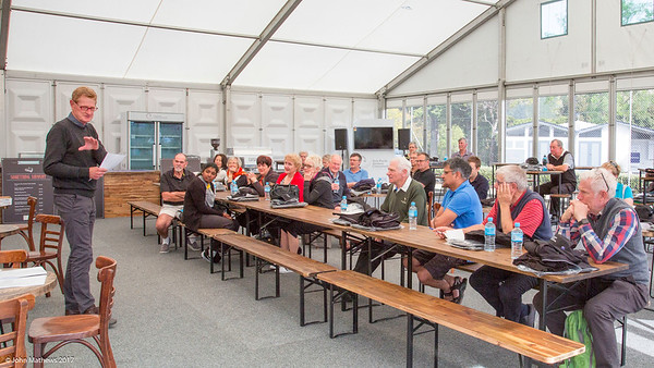 Photo of Peter Hazledine briefing volunteers at the Royal Wellington Golf Club immediately prior to the hosting of the Asia-Pacific Amateur Championship tournament 2017 held in Heretaunga, Upper Hutt, New Zealand in late October 2017. Copyright John Mathews 2017.   www.megasportmedia.co.nz