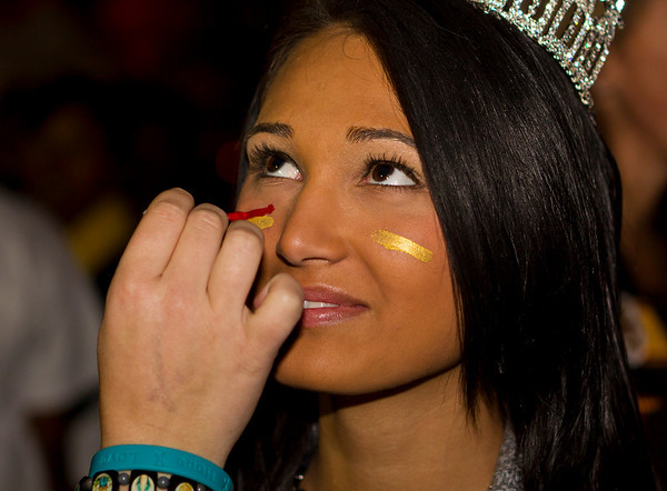 Miss Tallahassee USA® Cassandra Register has her face painted in the Seminole colors at the Leukemia & Lymphoma Society's Light the Night Walk held at Florida State University on November 11, 2010.