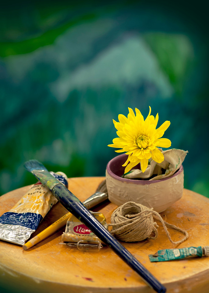 Painters brush and flower still life