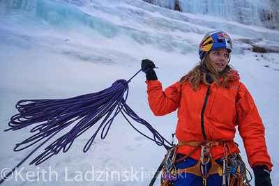 Sasha Digiulian and Angela Van Wiemeersch Ice Climbing in Munising Michigan