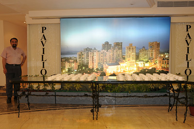 "Suchit Nanda standing besides the 81"" x 125""  (about 6.5 feet by 10.5 feet) flex with back lighting image done by Suchit Nanda for Rodas Hotel. This single shot (non-stitched) image is put up near the banquest area at Pavillion, Rodas Hotel, Hiranandani Gardens, Powai, Mumbai (Bombay), India.  http://www.rodashotel.com/"