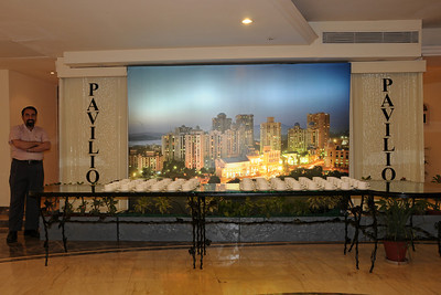"Suchit Nanda standing besides the 81"" x 125""  (about 6.5 feet by 10.5 feet) flex with back lighting image done by Suchit Nanda for Rodas Hotel. This image is put up near the banquest area at Pavillion, Rodas Hotel, Hiranandani Gardens, Powai, Mumbai (Bombay), India.  http://www.rodashotel.com/"