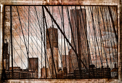 One World Trade Center and beekman tower/ new york by gehry' seen from the Brooklyn Bridge.