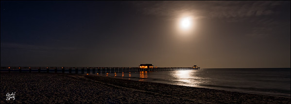 Naples Pier  - Full moon lighting at 5am
