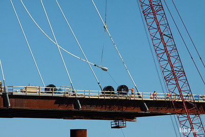 Running suspension cable for the Stan Musial; Bridge in St. Louis MO