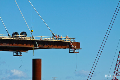 Men at work on the Stan Musial Bridge in St. Louis MO