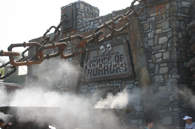 Fog Envelopes Entrance to Haunted House