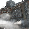 Fog Envelopes Entrance to Haunted House