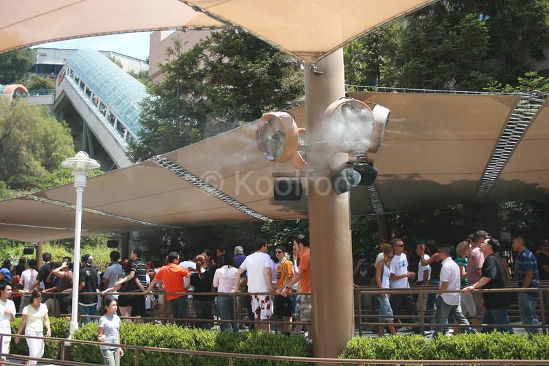 Mummy Queue Using Koolfog Misting Fans