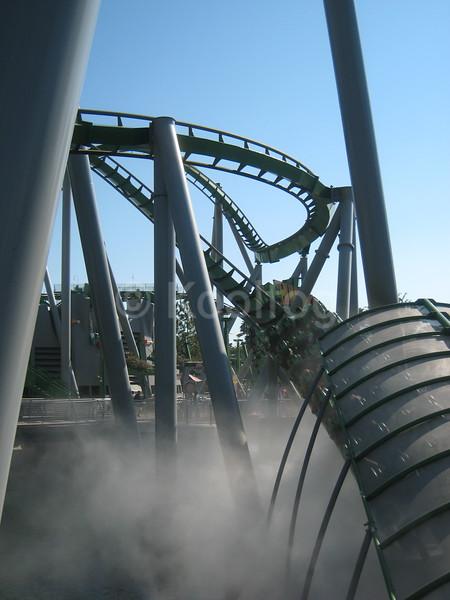 Car Exits Fog at Universal's Hulk Roller Coaster