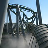 Car Exits Fog at Universal's Hulk Roller Coaster