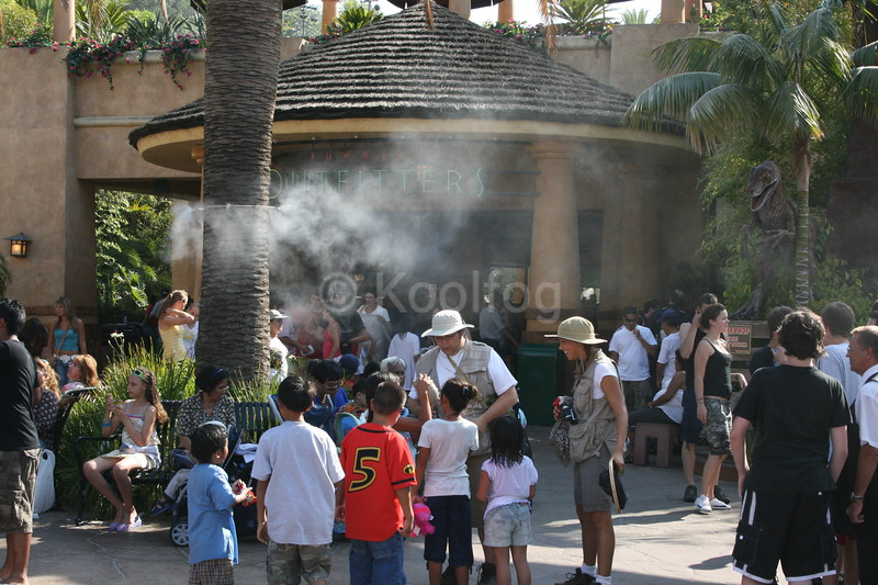 Characters Enjoy Cooling from Misting Trees