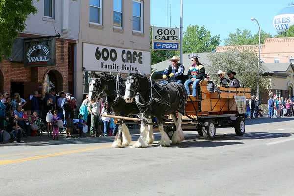 Jess Lockwood, PBR World Champion and his dad Ed Lockwood in the 2017 Miles City Bucking Horse Sale Parade - Grand Marshall.